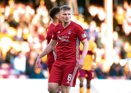 MOTHERWELL, SCOTLAND - OCTOBER 19: Aberdeen's Stephen Gleeson is pictured during the Ladbrokes Premiership match between Motherwell and Aberdeen, at Fir Park, on October 19, in Motherwell, Scotland. (Photo by Alan Harvey / SNS Group)