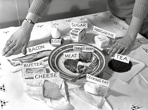 One person's weekly portion of rationed foods.