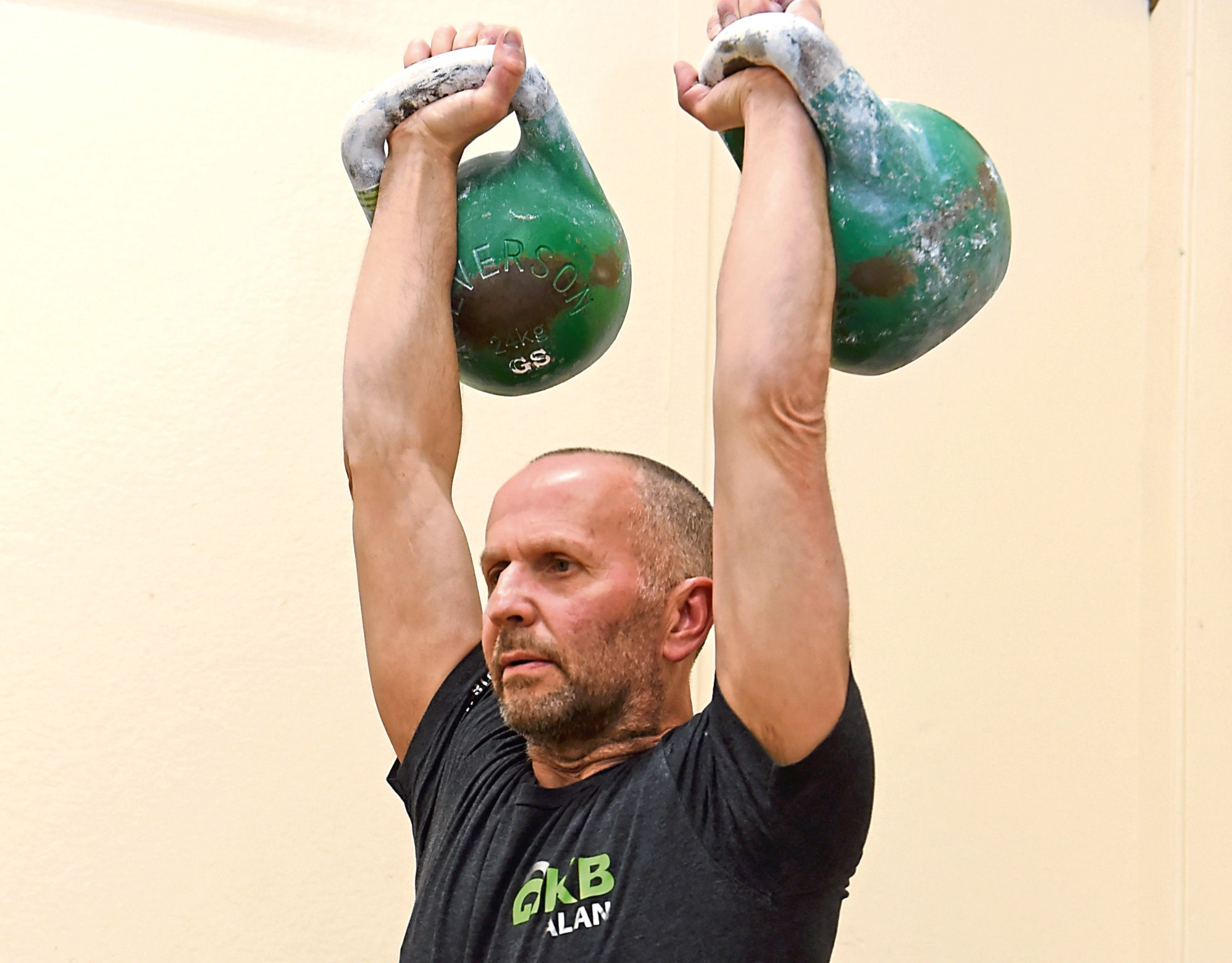 Alan Lyon in kettlebells action. Picture by Kenny Elrick