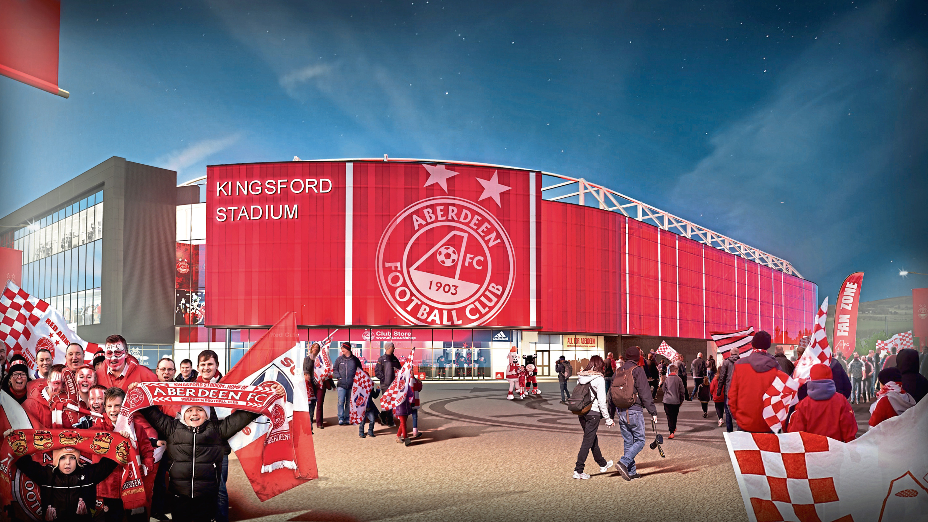 Image of the new Kingsford Stadium which could be the home of Aberdeen FC   Dons stadium Artist impression