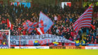 Aberdeen fans hold up a banner at half time during the William Hill Scottish Cup 4th round tie between Aberdeen and Dumbarton at Pittodrie on January 18, 2020