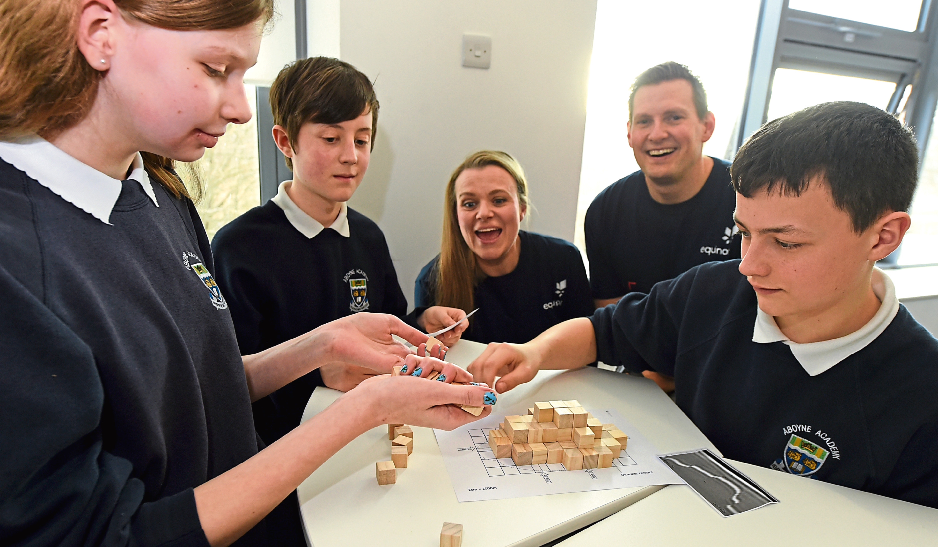 Sarah Chew, the managing director of Techfest and Arne Gurtner, Equinor senior vice president UK with pupils from Aboyne Academy
