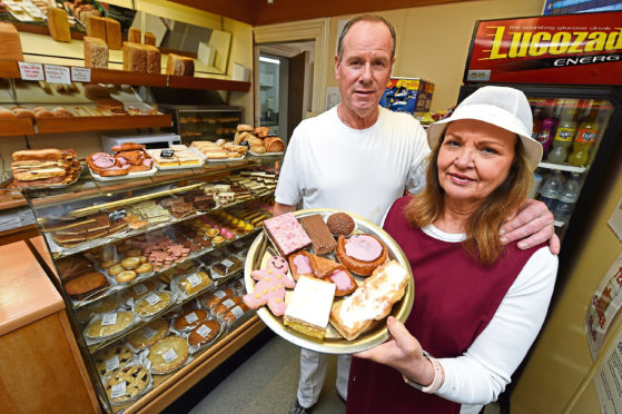 Seafield Bakery in Banff is closing as the family are selling the business. Owners Duncan and Audrey Clark.