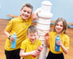 Kemnay Primary School pupils will be taking part in CLAN'S Light The North mini lighthouse trail. Ready to paint are, from left, Travis Durrant, 11, Ollie Alves, 6, and Caitlin Spencer ,9.