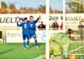 Mitch Megginson celebrates his opener with Rory McAllister. Picture by Scott Baxter