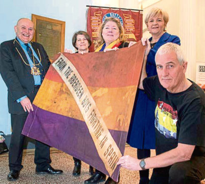 Lord Provost Barney Crockett, Councillor Marie Boulton, Maureen Saunders, Granddaughter of Archie Dewar, who was killed at CAPSE, Spain, Councillor Jenny Laing and Tommy Campbell attending the rededication ceremony of the plaque that remembers the people from Aberdeen that joined the International Brigade to fight fascism in the Spanish Civil War