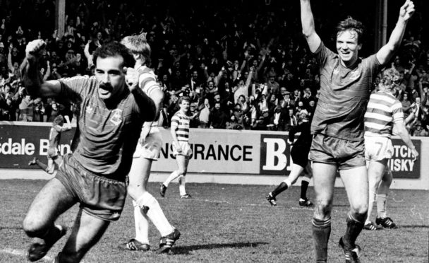Willie Miller scores against Celtic in 1985 to clinch Aberdeen's last league title
