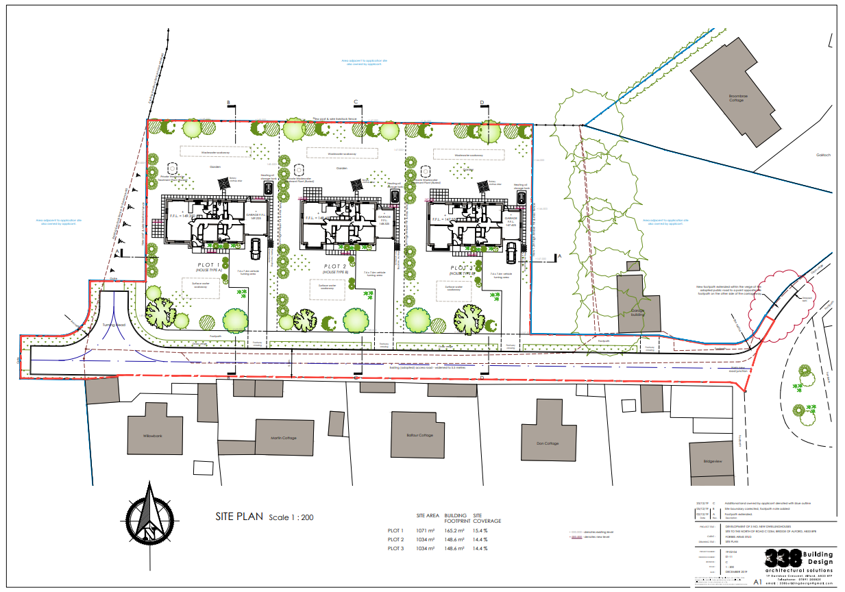 The plans submitted for the site development at Bridge of Alford