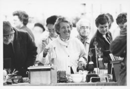 A trader in 1988 as the Castlegate market reopens
