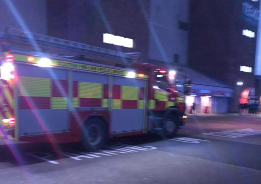 Fire crews outside the stadium