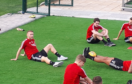 Dylan McGeouch, left, with his Aberdeen team-mates in Dubai.