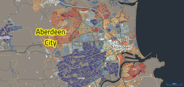 Dark blues indicate least deprived areas, dark reds and oranges indicate areas that are more deprived