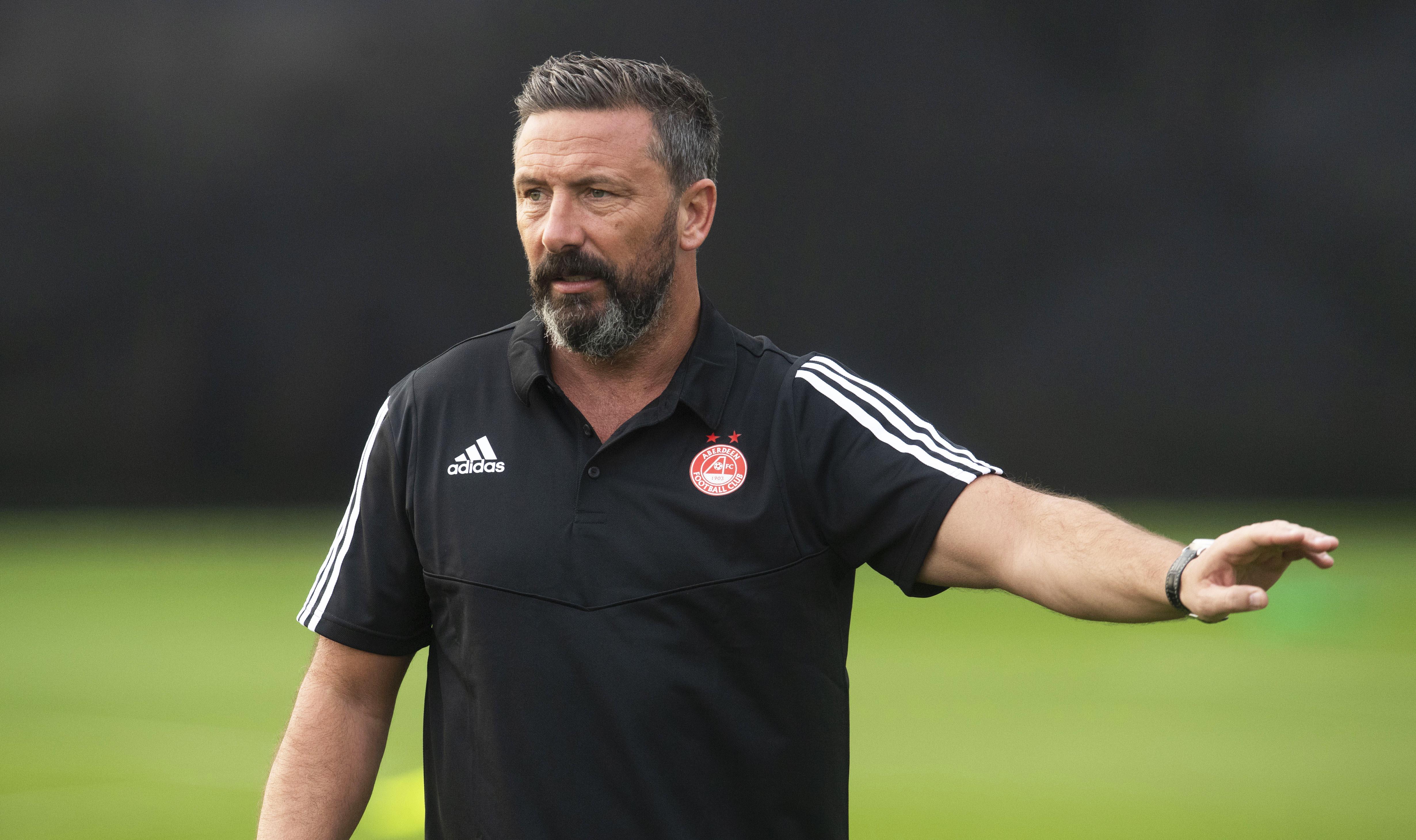 Derek McInnes during Aberdeen training.