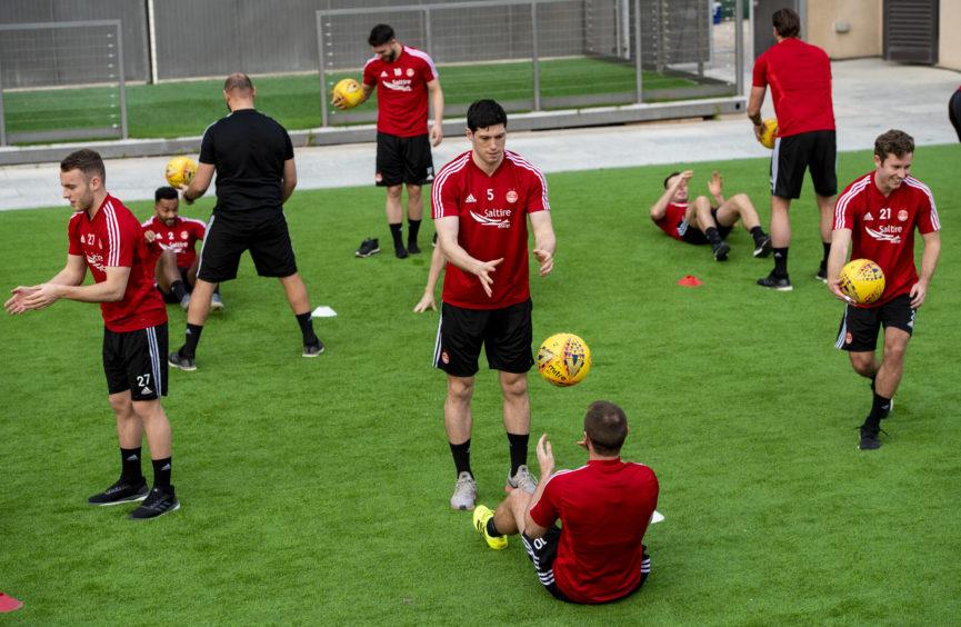 Scott McKenna during a training drill.
