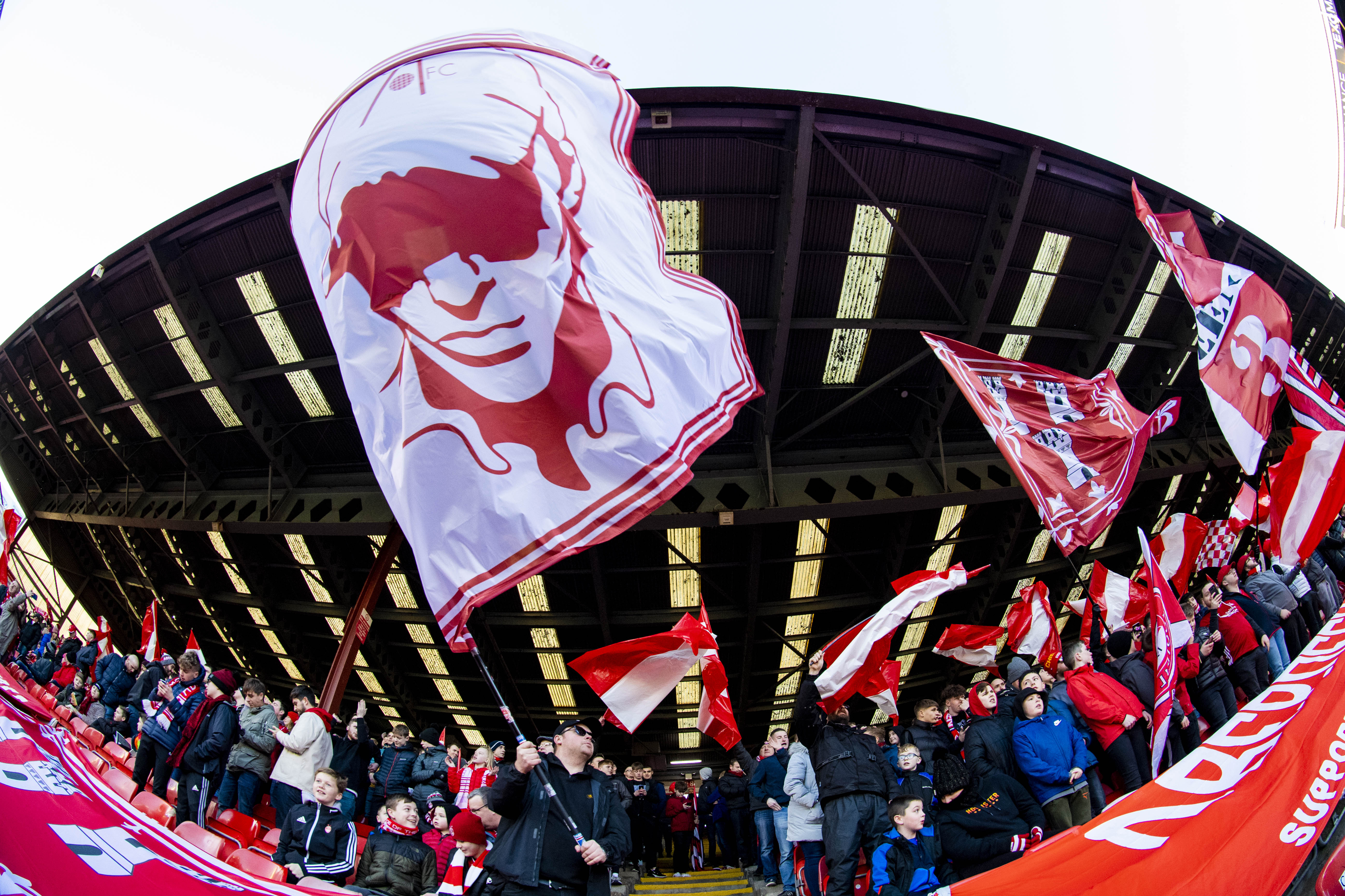 A flag display ahead of kick-off during the William Hill Scottish Cup fourth round tie between Aberdeen and Dumbarton.