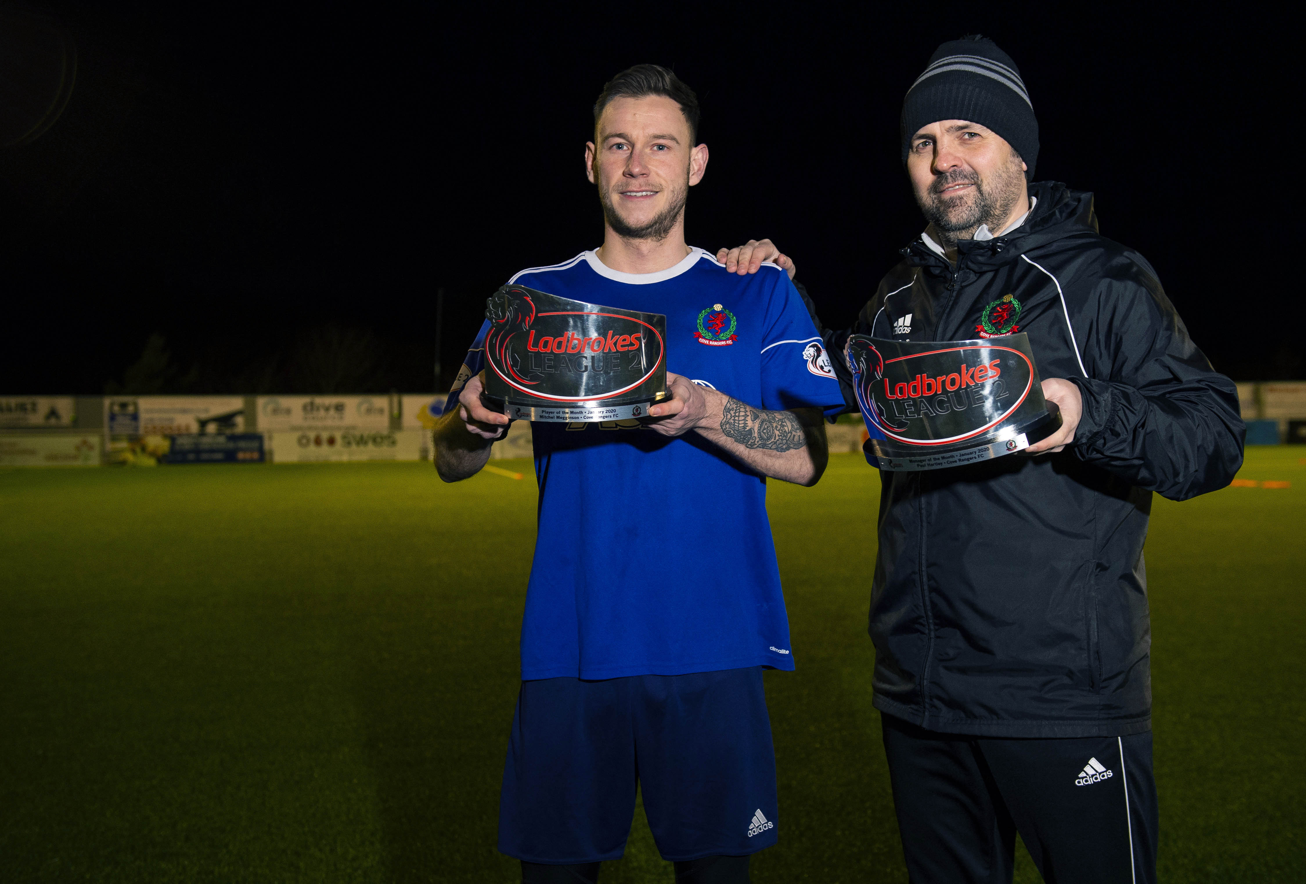 Cove Rangers manager Paul Hartley and striker Mitchel Megginson receiving the Ladbrokes League 2 Manager and Player of the Month awards for January.