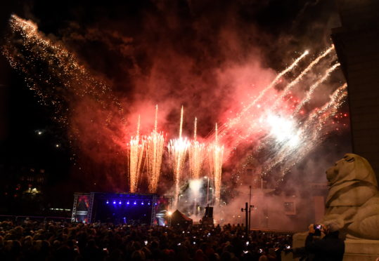 Fireworks display marked the bells
