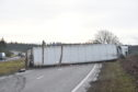 The lorry was blocking two lanes on the A96 this morning. Picture by Darrell Benns