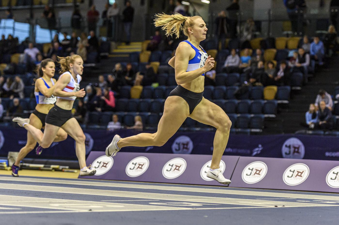 Alisha Rees wins the Scottish 60 metre title.