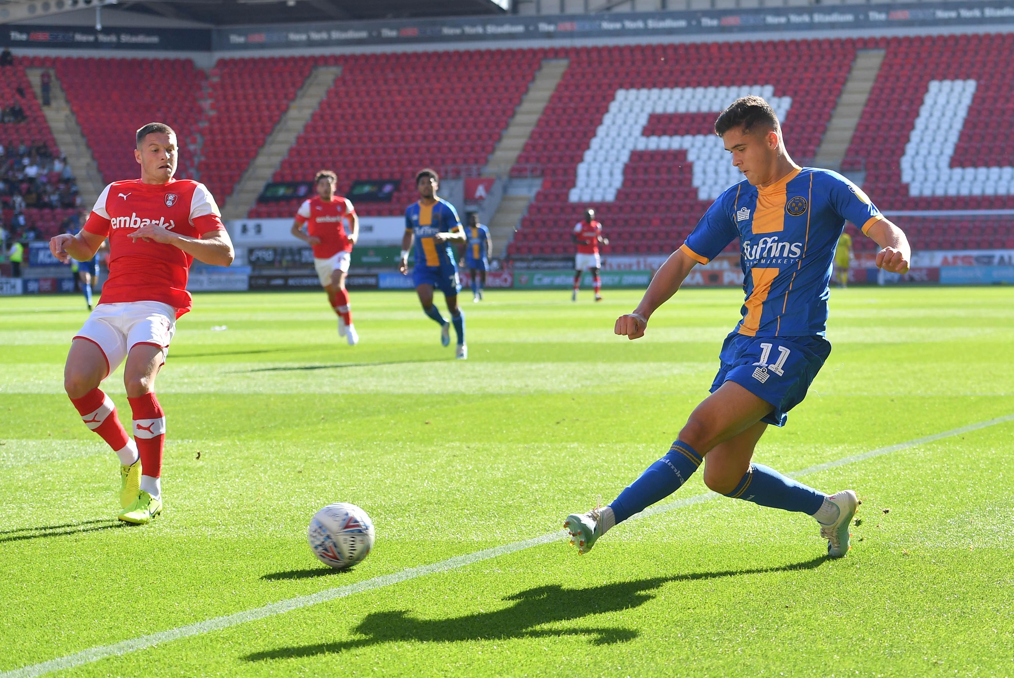 Ryan Giles during a loan spell at Shrewsbury Town.