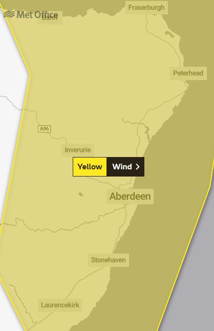 A weather warning is in place for the north-east