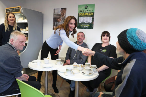 The Duchess of Cambridge, known as the Countess of Strathearn speaks to users of the Aberdeen Social Bite cafe