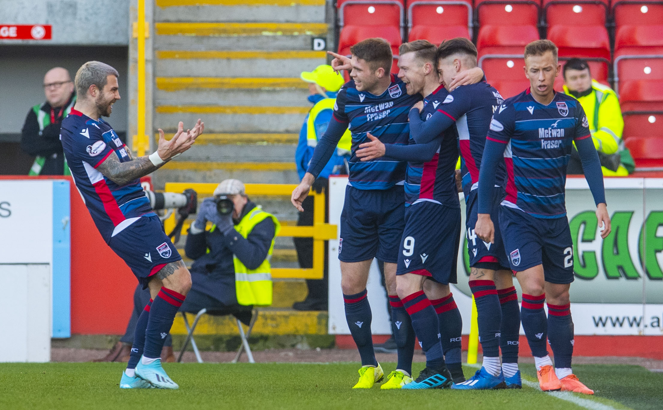 Billy Mckay celebrates his first goal.