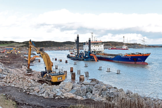 The ongoing upgrade at Aberdeen Harbour at Nigg Bay.   Picture by KENNY ELRICK     27/01/2020
