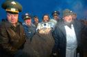 American astronaut Bill McArthur, shortly after landing near the town of Arkalyk, northern Kazakhstan