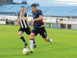 Aidan Combe, left in action for Fraserburgh against Ross County in the Tunnock's Caramel Wafer Cup. Picture by Kath Flannery