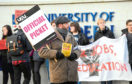 he University and College Union members protesting outside Aberdeen University