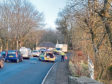 The A950 was shut at Cairngall, near Longside, following the three-vehicle collision. Picture by Tasmin Gray