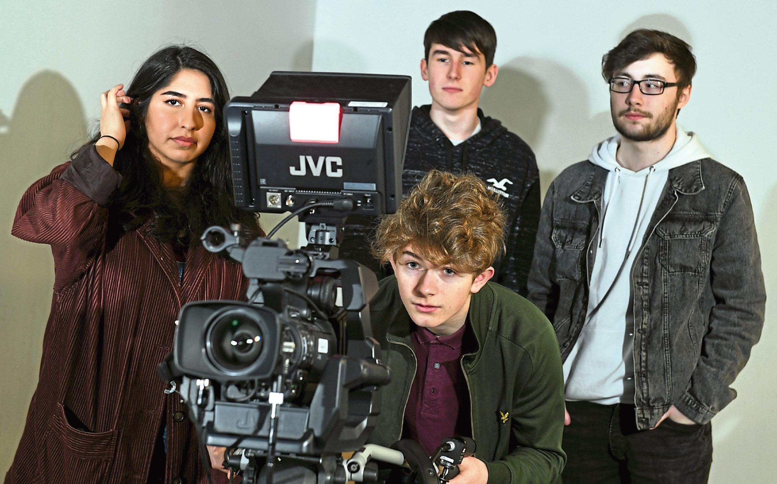 Media students Niloufar Momtz, Cameron Main, Ben Morley and Angus Brooks