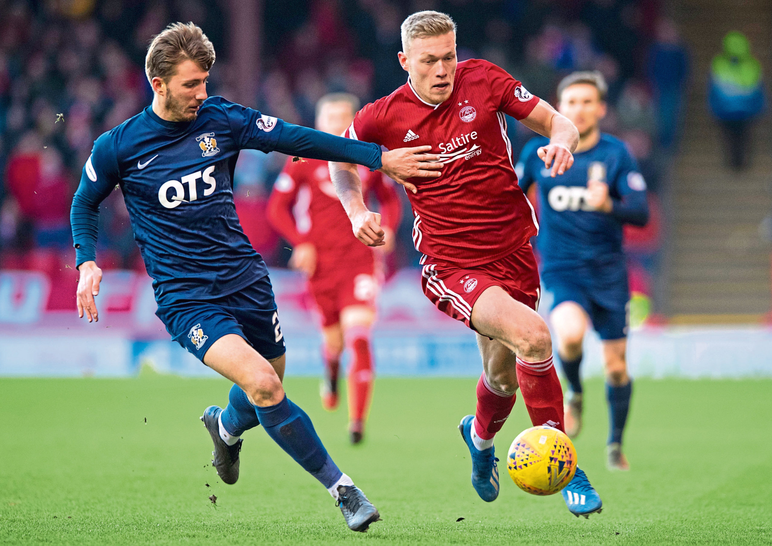 Sam Cosgrove in action during the Scottish Cup fifth round tie between Aberdeen and Kilmarnock at Pittodrie Stadium on February 8.