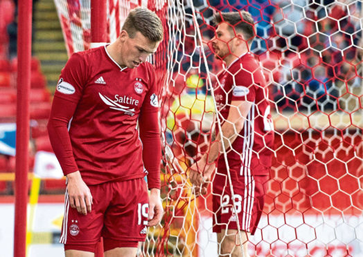 Lewis Ferguson walks off dejected after coming close to scoring during the Scottish Cup fifth round tie between Aberdeen and Kilmarnock.