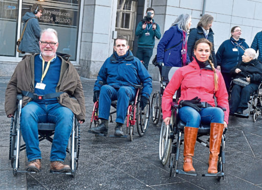 City councillors were challenged to manoeuvre themselves in wheelchairs from outside Union Square to the Town House via The Green