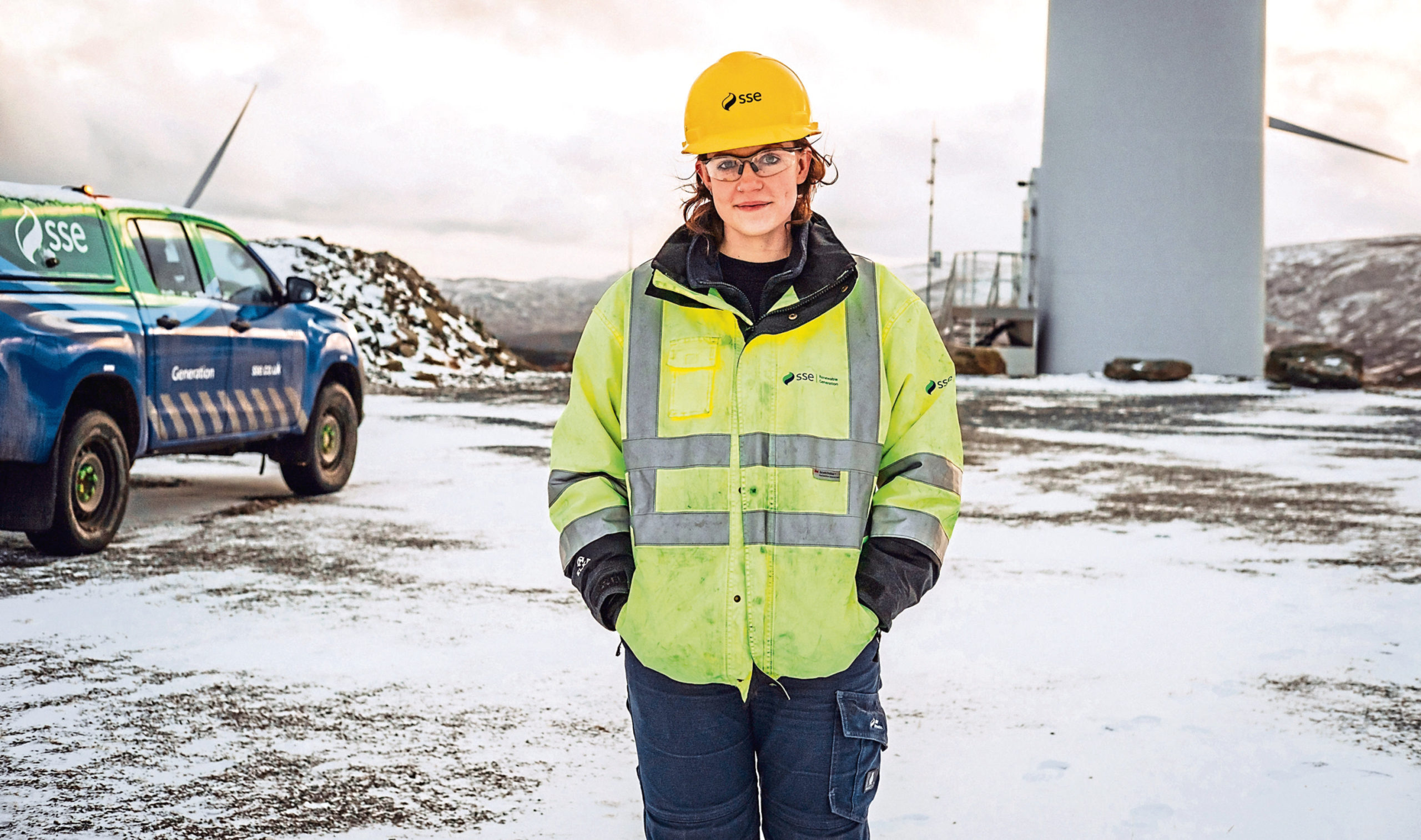 SSE Renewables trainee engineer Catriona Kilgour at Griffin Wind Farm in Perthshire.