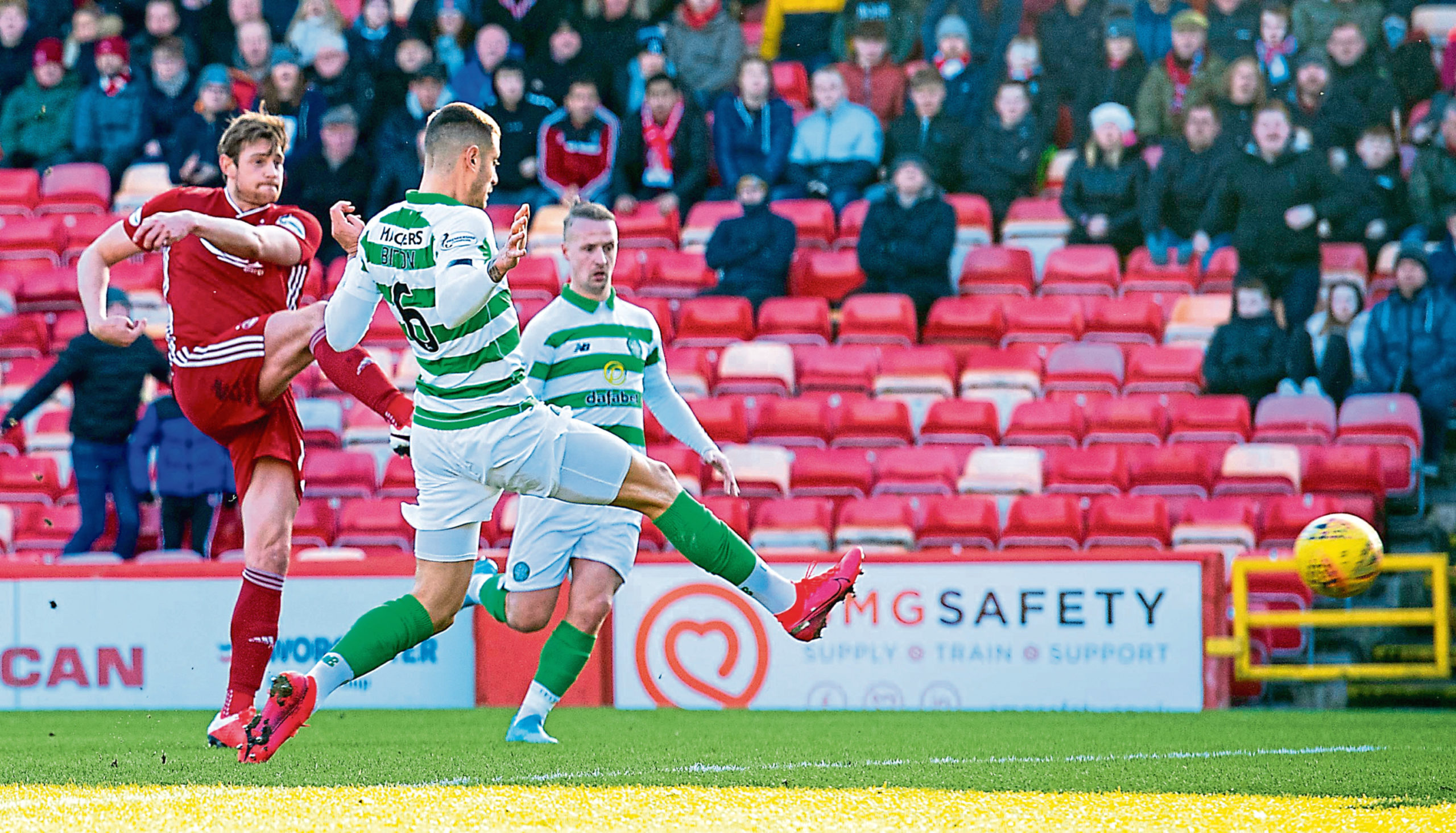 Ash Taylor strikes to equalise for Aberdeen against Celtic.