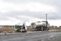 A milk tanker and van on the A90 at Fordoun