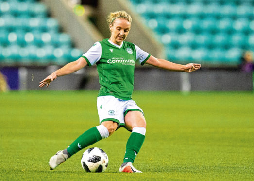 Aberdeen's Rachael Boyle in action for Hibs.