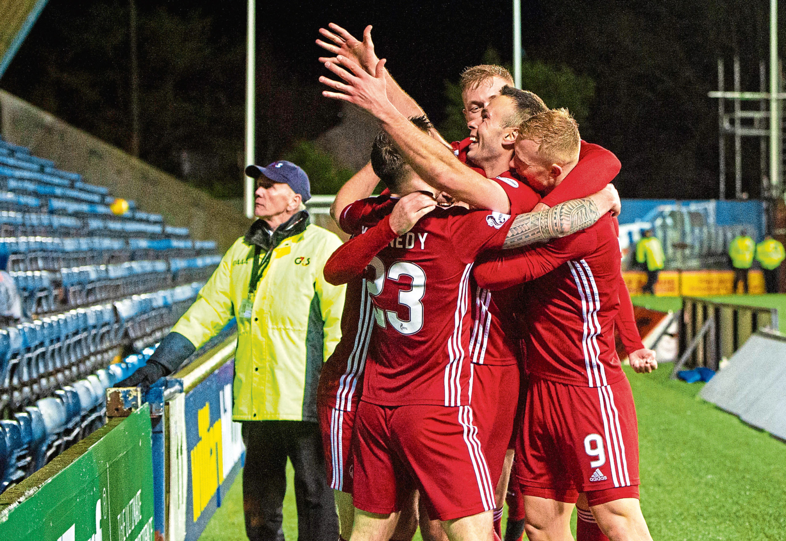 Andy Considine celebrates after Aberdeen knocked Kilmarnock out of the Scottish Cup. Considine's cross was turned home by a Killie defender to secure a momentous 4-3 victory.