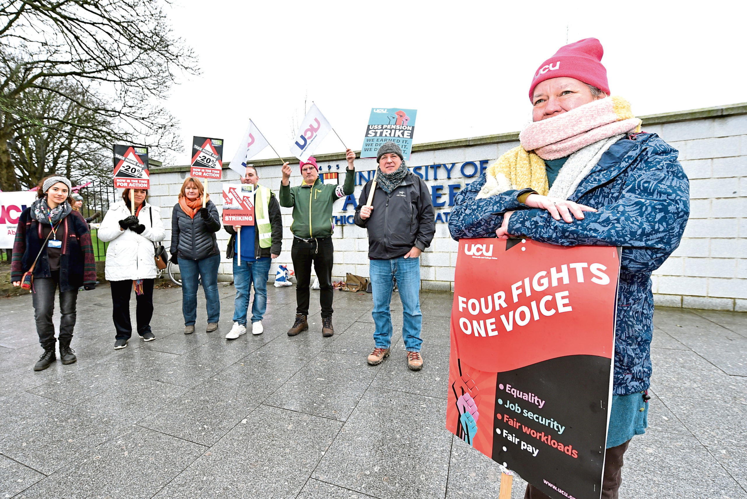 Lecturers picketing at the University of Aberdeen campus in a call for equal pay and improvements to job security