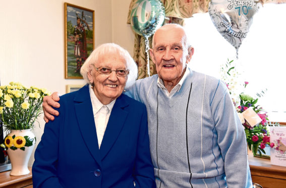 Olive and George Sinclair celebrating their 70th anniversary