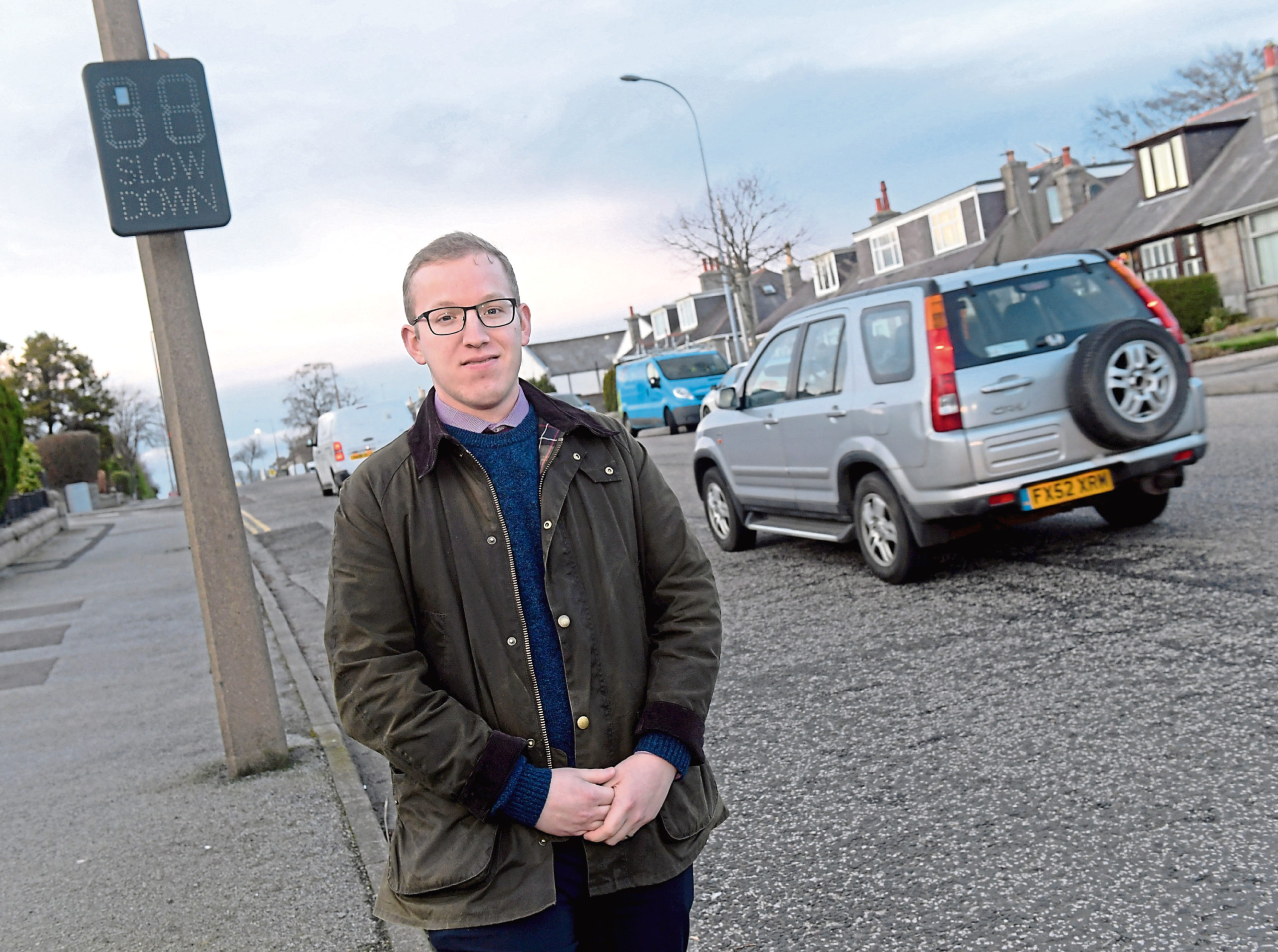 The council has installed vehicle-activated signs on Hilton Drive, which will be switched on next week, in response to concerns from residents and Cllr Freddie John. CR0019738 21/02/20 Picture by KATH FLANNERY