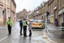 Police at the scene in Brechin