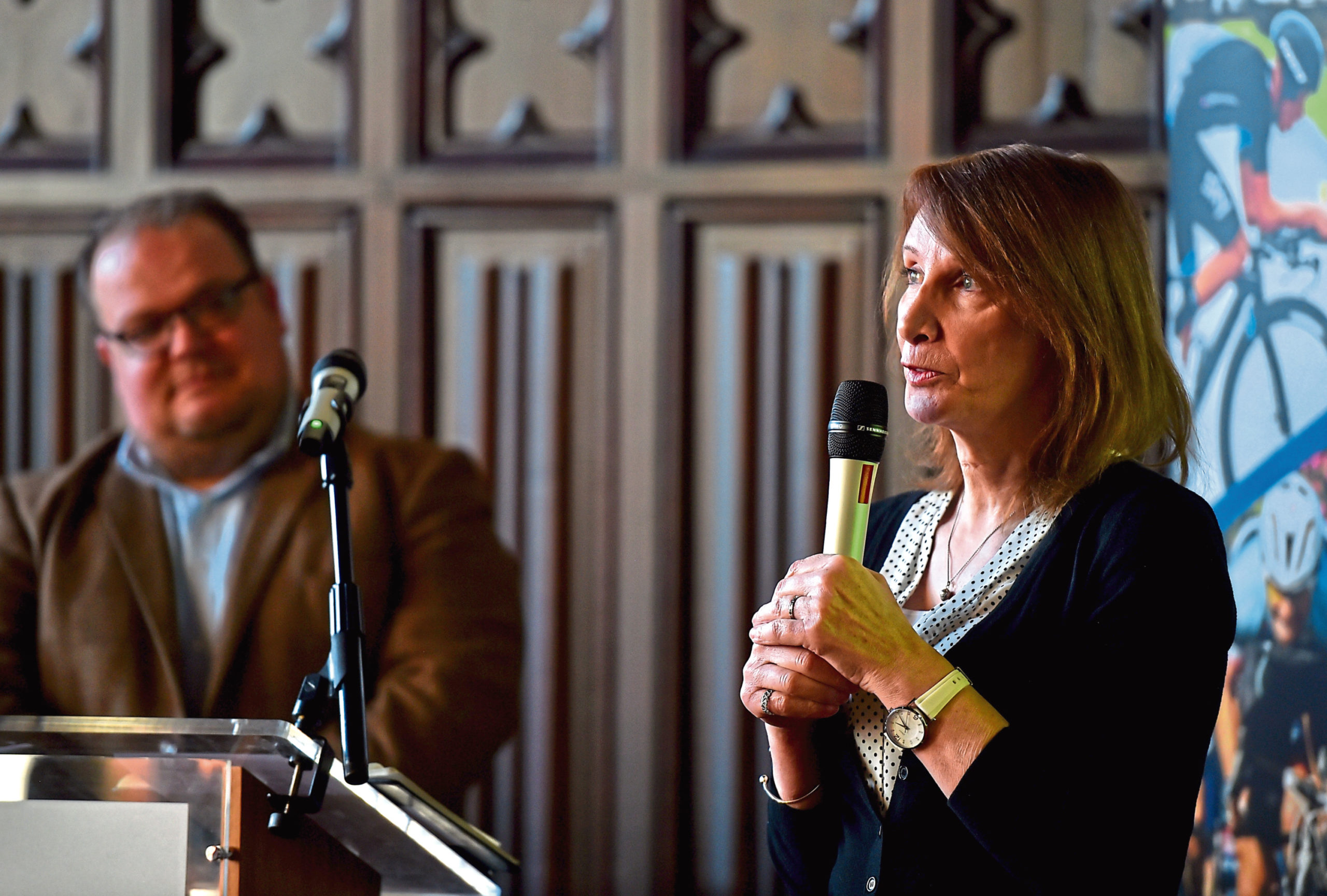 Pippa York speaks at Aberdeen Townhouse yesterday.  Picture by Scott Baxter