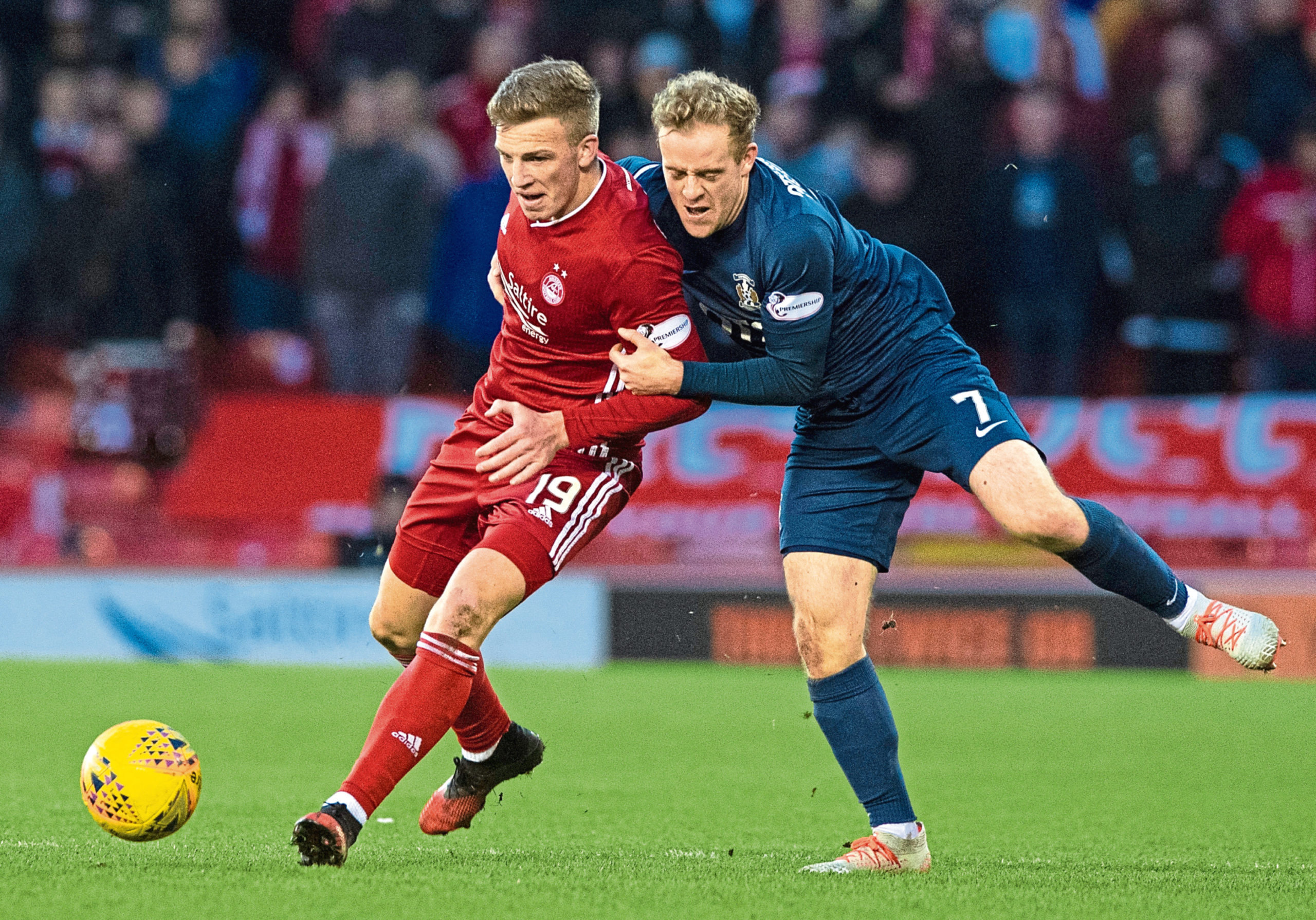 Lewis Ferguson in action against Kilmarnock during the first playing of Aberdeen and Killie's fifth-round tie.