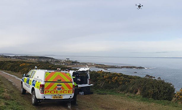 Police Scotland has been using a drone to search the area around Findochty