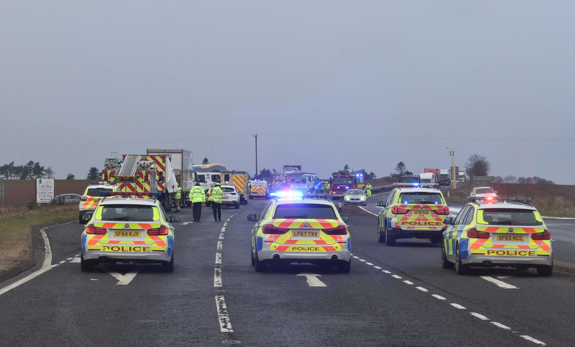 Emergency services at the scene on the A90 today. Picture by Darrell Benns