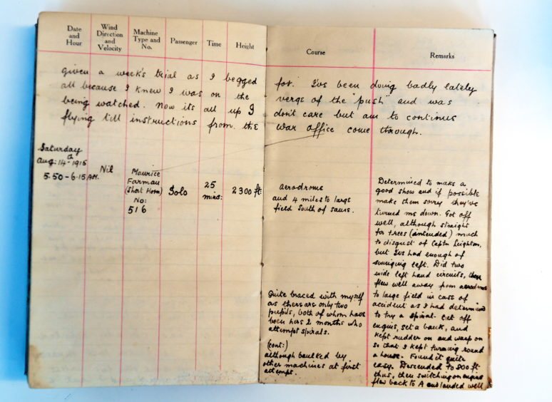 CR0019332 Aberdeen Airport has uncovered old photos and documents that illustrate its history. Eric Gander Dower's flight book. Pic by...............Chris Sumner Taken...............10/2/2020